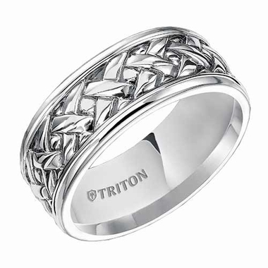 Triton 7mm Sterling Silver Ring with Weave Design