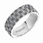 Triton 7mm Sterling Silver Woven Ring with Black Oxidation