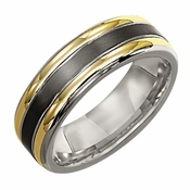 Triton 7mm Titanium Ring with 18K Yellow Gold Inlay