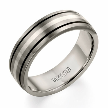 Triton 7mm Titanium Wedding Ring with Silver Inlay