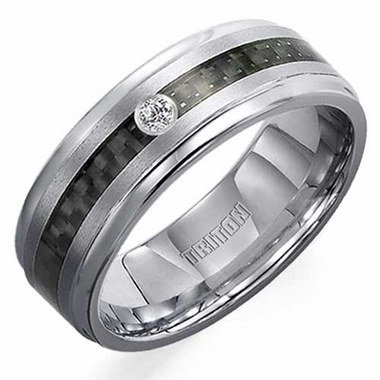 Triton 7mm Tungsten Carbide Diamond Ring with Carbon Fiber Inlay