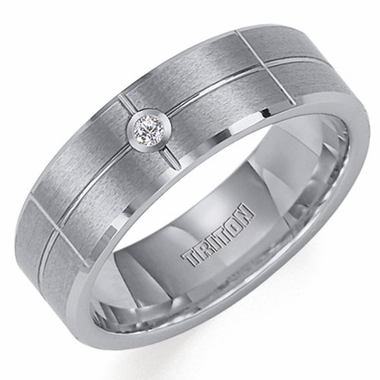 Triton 7mm Tungsten Carbide Diamond Ring with Grooves