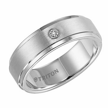 Triton 7mm Tungsten Carbide Diamond Ring with Step Edges