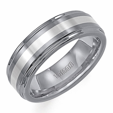 Triton 7mm Tungsten Carbide Ring with Platinum Inlay