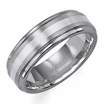 Triton 7mm Tungsten Carbide Ring with Silver Inlay
