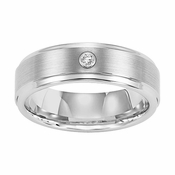 Triton 7mm White Tungsten Carbide Diamond Ring