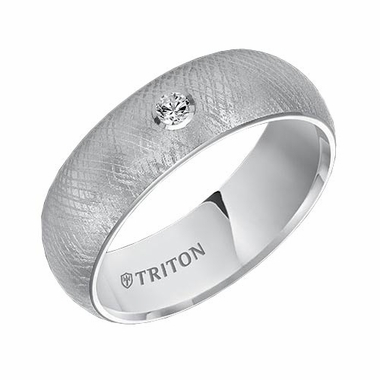 Triton 7mm White Tungsten Carbide Diamond Ring with Florentine Finish