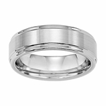 Triton 7mm White Tungsten Carbide Ring