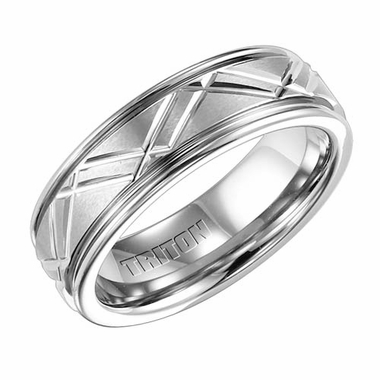 Triton 7mm White Tungsten Carbide Ring with Diagonal Cuts