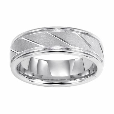 Triton 7mm White Tungsten Carbide Ring with Diagonal Slots