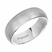 Triton 7mm White Tungsten Carbide Ring with Florentine Finish
