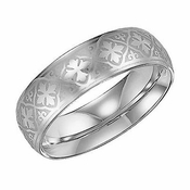 Triton 7mm White Tungsten Carbide Ring with Laser Engraved Crosses
