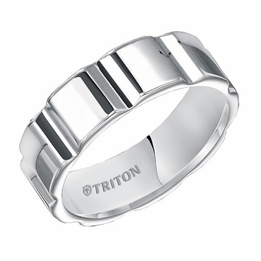 Triton 7mm White Tungsten Carbide Ring with Vertical V Cuts