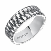 Triton 8mm Woven Sterling Silver Ring with Black Oxidation