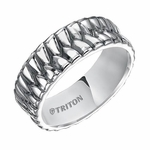 Triton 7mm Woven Sterling Silver Ring with Black Oxidation