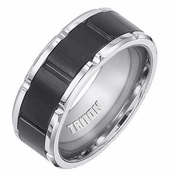 Triton 8.5mm Black and White Tungsten Carbide Ring with Vertical Cuts