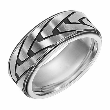 Triton 8.5mm Stainless Steel Ring with Gun Metal PVD
