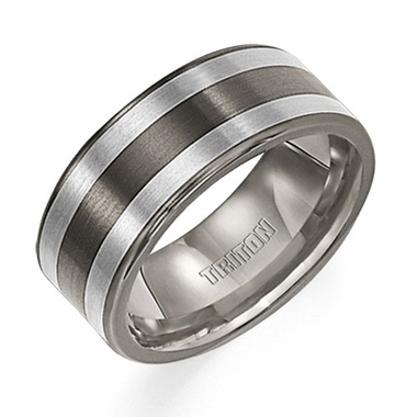 Triton 8.5mm Two Tone Titanium and Silver Ring