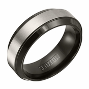 Triton 8mm Black and Gray Titanium Ring with Beveled Edges