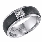 Triton 8mm Black and White Tungsten Carbide Diamond Ring