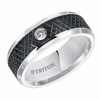 Triton 8mm Black and White Tungsten Carbide Diamond Ring with Knurl Cut Center