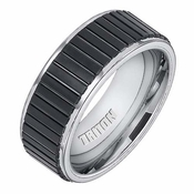 Triton 8mm Black and White Tungsten Carbide Ring with Vertical Cuts