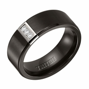 Triton 8mm Black Titanium and Stainless Steel Diamond Ring