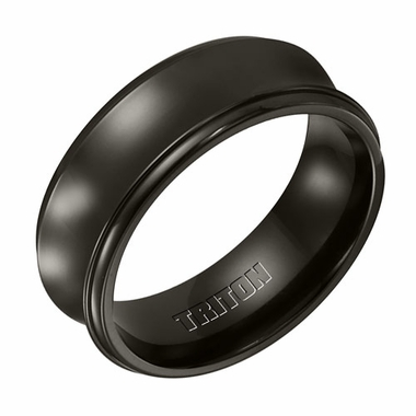 Triton 8mm Black Titanium Concave Ring