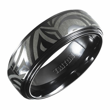 Triton 8mm Black Titanium Ring with Engravings