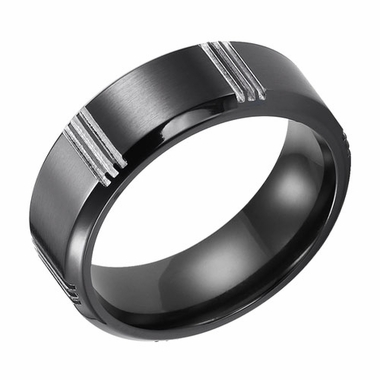 Triton 8mm Black Titanium Ring with Vertical Cuts