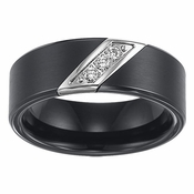 Triton 8mm Black Tungsten Carbide 3 Diamonds Ring