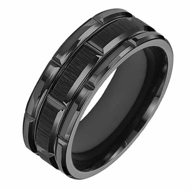 Triton 8mm Black Tungsten Carbide Ring with Brick Design