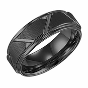 Triton 8mm Black Tungsten Carbide Ring with Diagonal Cuts