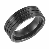 Triton 8mm Black Tungsten Carbide Ring with Grooves