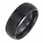 Triton 8mm Black Tungsten Carbide Ring with Step Edges