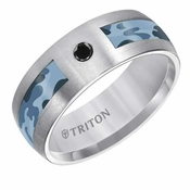 Triton 8mm Camouflage Tungsten Carbide Band with Black Diamond