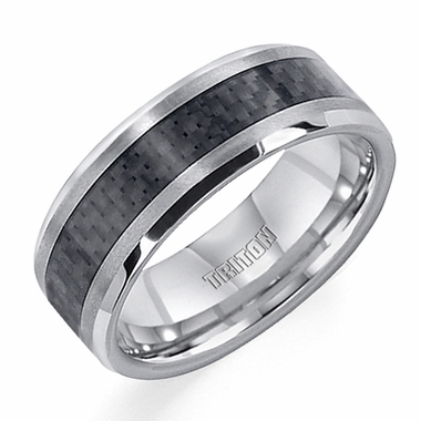 Triton 8mm Carbon Fiber and Tungsten Carbide Ring