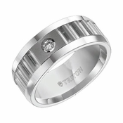 Triton 8mm Corrugated White Tungsten Carbide Diamond Ring