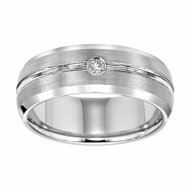 Triton 8mm Dome Profile White Tungsten Carbide Diamond Ring