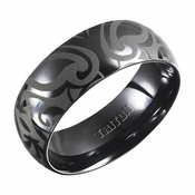 Triton 8mm Domed Black Titanium Ring with Engravings