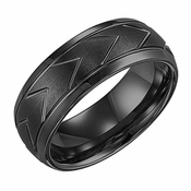 Triton 8mm Dual Finish Black Tungsten Carbide Ring with Chevron Patterns