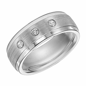 Triton 8mm Dual Finish Cobalt Diamond Ring with Step Edge
