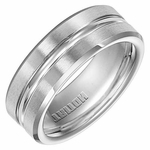 Triton 8mm Dual Finish Cobalt Ring with Beveled Edge