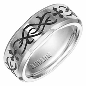 Triton 8mm Dual Finish Cobalt Ring with Engraved Design