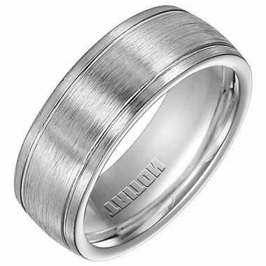 Triton 8mm Dual Finish Cobalt Ring with Grooves