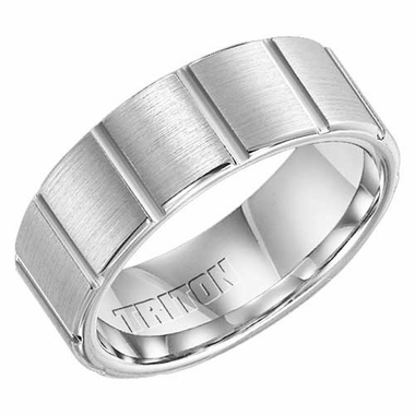 Triton 8mm Dual Finish Cobalt Ring with Vertical Cuts