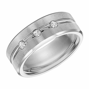 Triton 8mm Dual Finish Cobalt Three Diamond Ring
