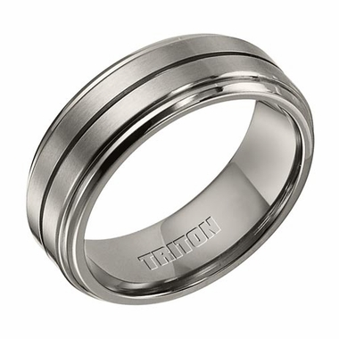 Triton 8mm Dual Finish Titanium Ring with Center Cut