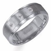 Triton 8mm Dual Finish Tungsten Carbide 3-Stone Diamonds Ring