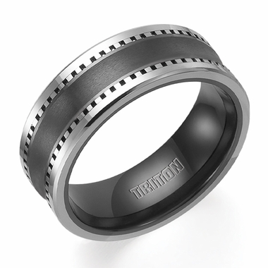 Triton 8mm Dual Finish Tungsten Carbide and Ceramic Ring